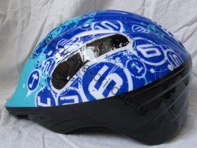 Шлем детский с регулировкой размера для катания на роликах. Синий