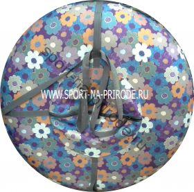 КРУГЛЫЙ СНОУТЮБИНГ (тюбинг) цветочки, диаметр 85 см с камерой