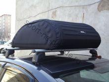 Бокс-сумка мягкая на крышу автомобиля - размер М (248 литров 120х80х35 см) черная (с алюм. направляющими)