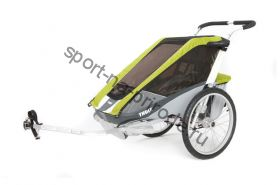 Коляска Thule Chariot Cougar1/Кугар1, в комплекте с велосцепкой, авокадо, 14-