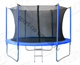 Батут JUNHOP 8'. Комплект с защитной сетью и лестницей. Синий.