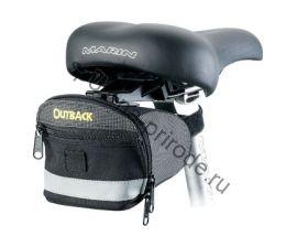 Подседельная сумочка с быстрой застежкой под седло и фиксацией на подседельный штырь, светоотражающая полоса. Чёрная