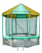 Батут OPTIFIT 14FT Like Green с сеткой, лестницей и крышей