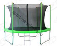 Батут JUNHOP 10'. Комплект с защитной сетью и лестницей. Зеленый.