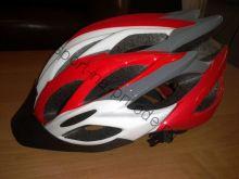 Велошлем взрослый с регулировкой размера. Цвет бело красный/ Вес 230 гр.